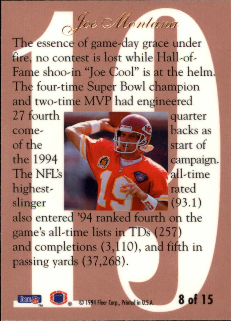 1994 Ultra Flair Hot Numbers #8 Joe Montana back image