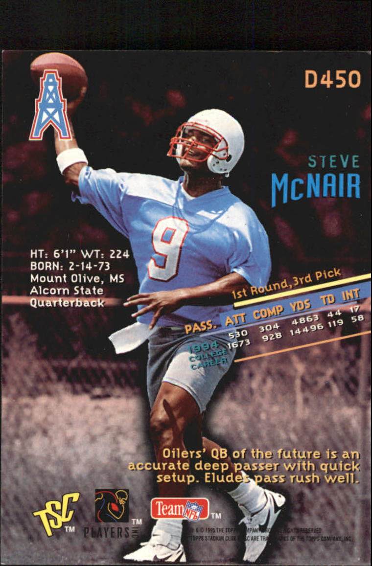 1995 Stadium Club Members Only Parallel #450 Steve McNair back image