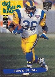 1995 Collector's Choice Player's Club #45 Jerome Bettis DYK