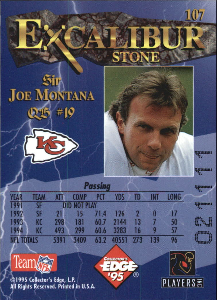 1995 Excalibur #107 Joe Montana back image