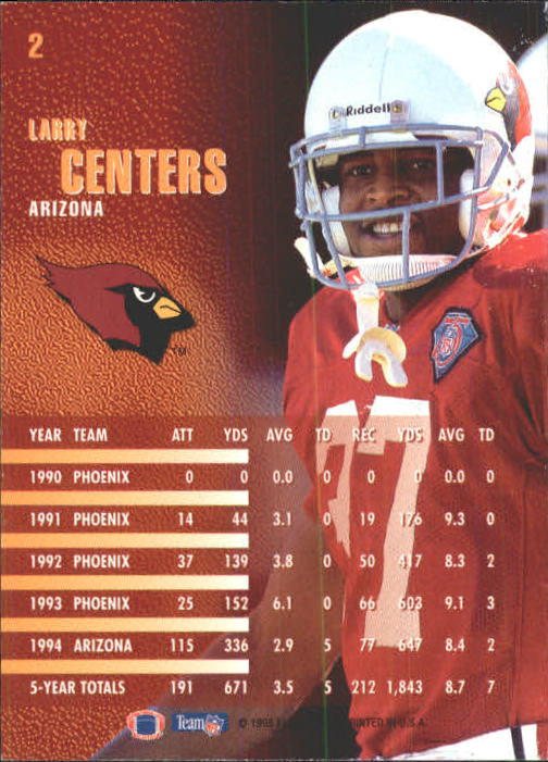 1995 Fleer #2 Larry Centers back image