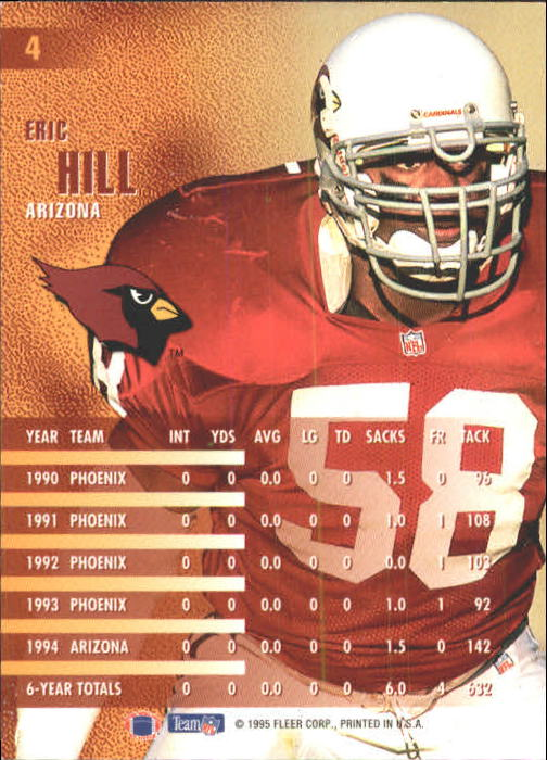 1995 Fleer #4 Eric Hill back image