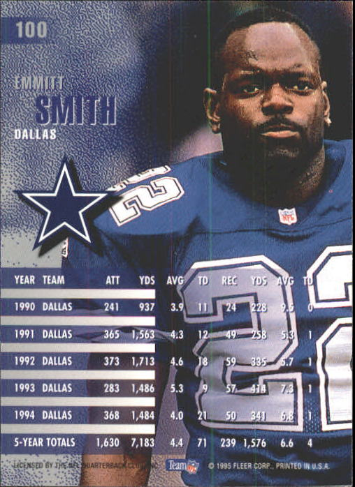 1995 Fleer #100 Emmitt Smith back image