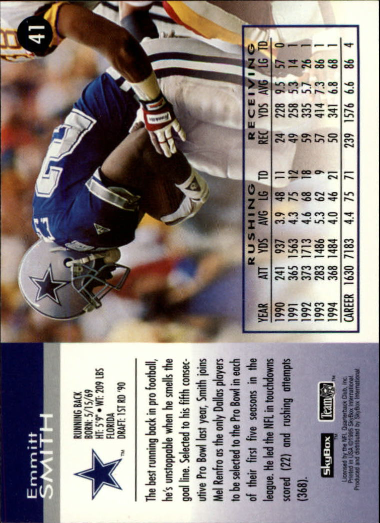 1995 SkyBox Impact #41 Emmitt Smith back image