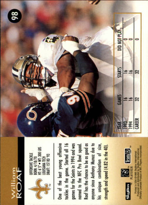1995 SkyBox Impact #98 Willie Roaf back image
