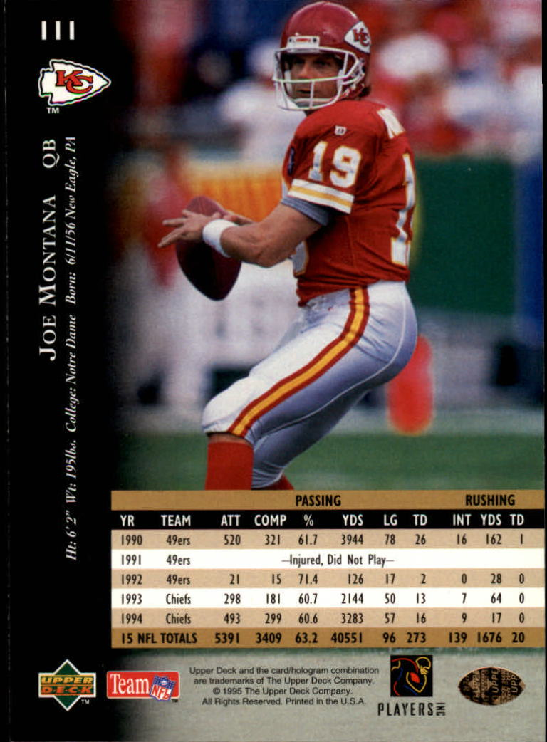 1995 Upper Deck #111 Joe Montana back image
