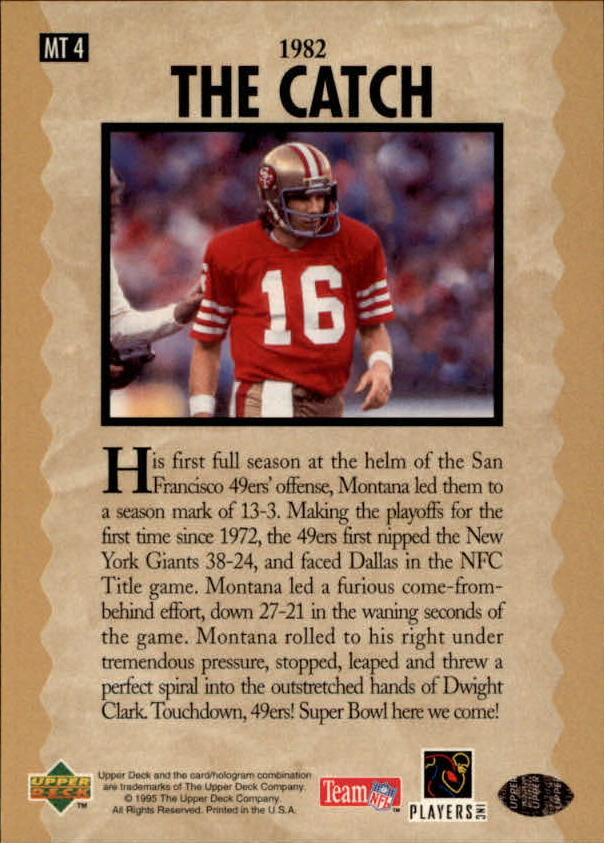 1995 Upper Deck Joe Montana Trilogy #MT4 Joe Montana back image
