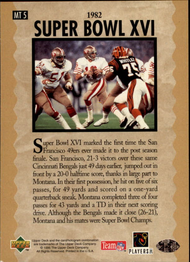 1995 Upper Deck Joe Montana Trilogy #MT5 Joe Montana back image