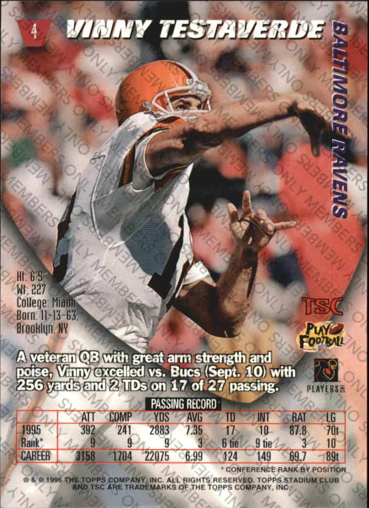 1996 Stadium Club Members Only Parallel #4 Vinny Testaverde