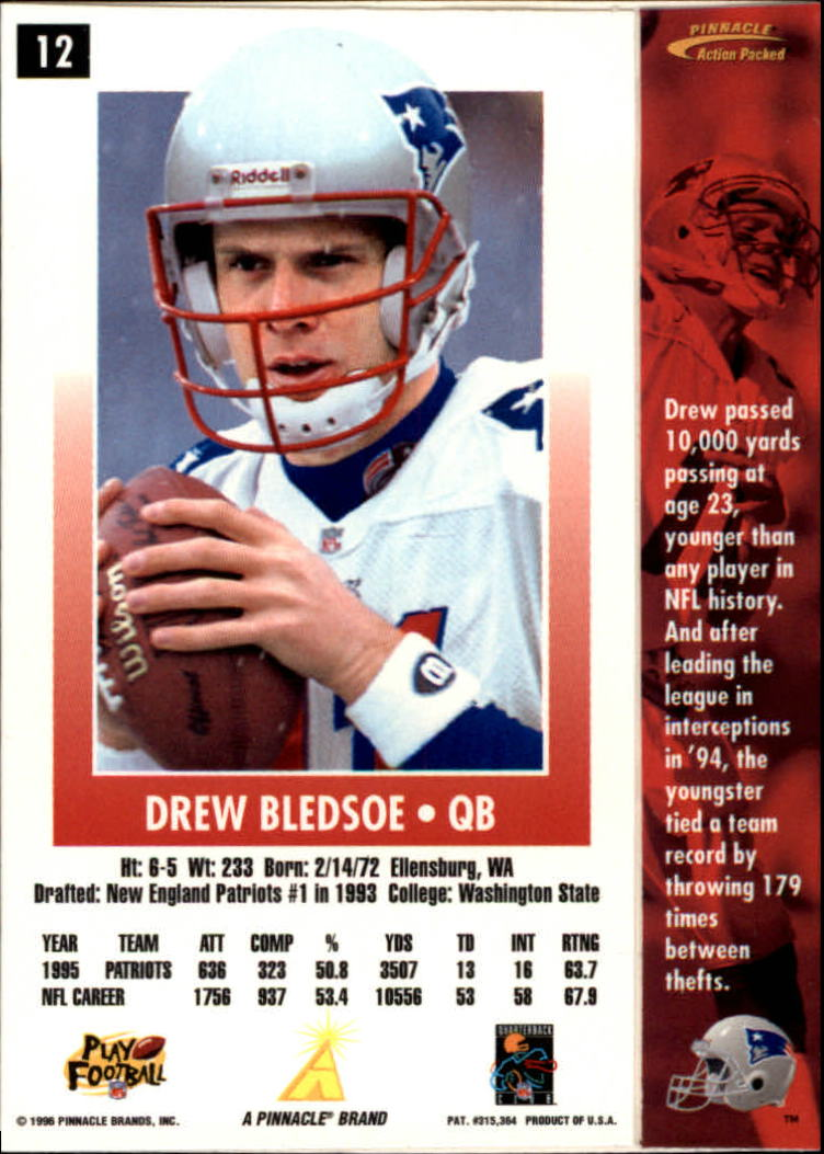 1996 Action Packed #12 Drew Bledsoe back image