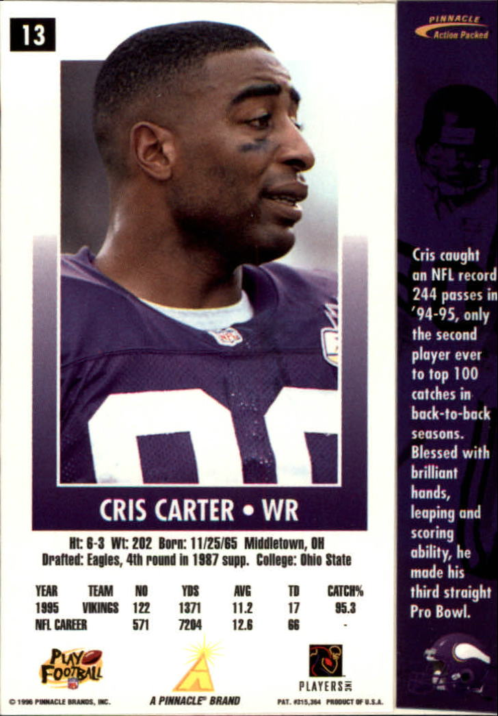 1996 Action Packed #13 Cris Carter back image