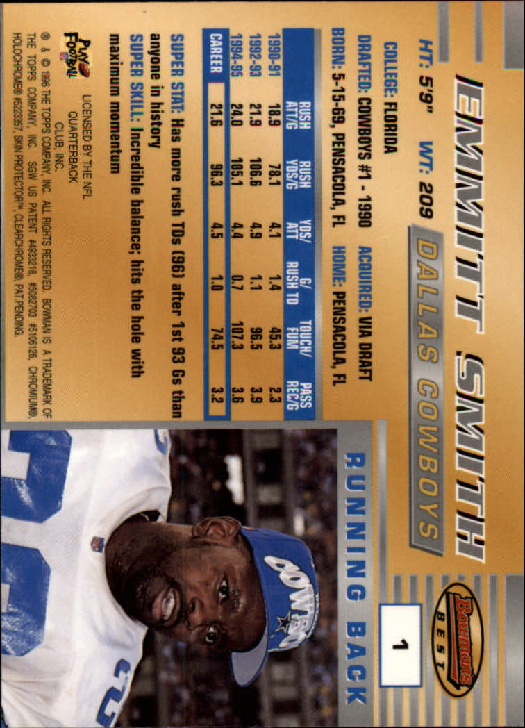 1996 Bowman's Best #1 Emmitt Smith back image