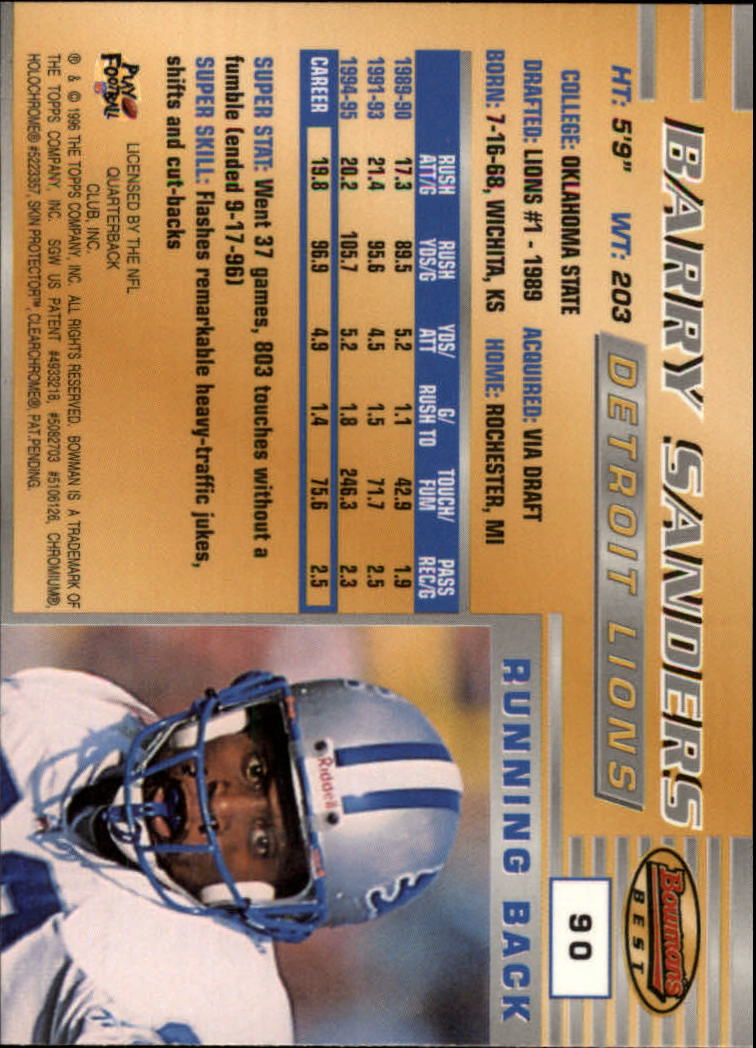 1996 Bowman's Best #90 Barry Sanders back image