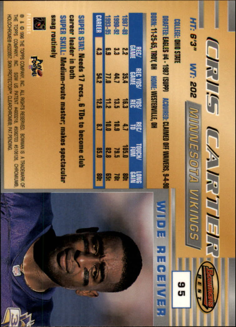 1996 Bowman's Best #95 Cris Carter back image
