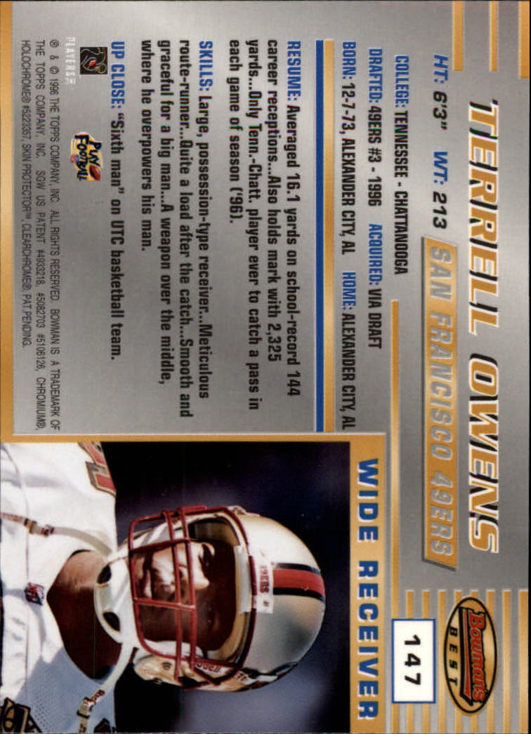 1996 Bowman's Best #147 Terrell Owens RC back image