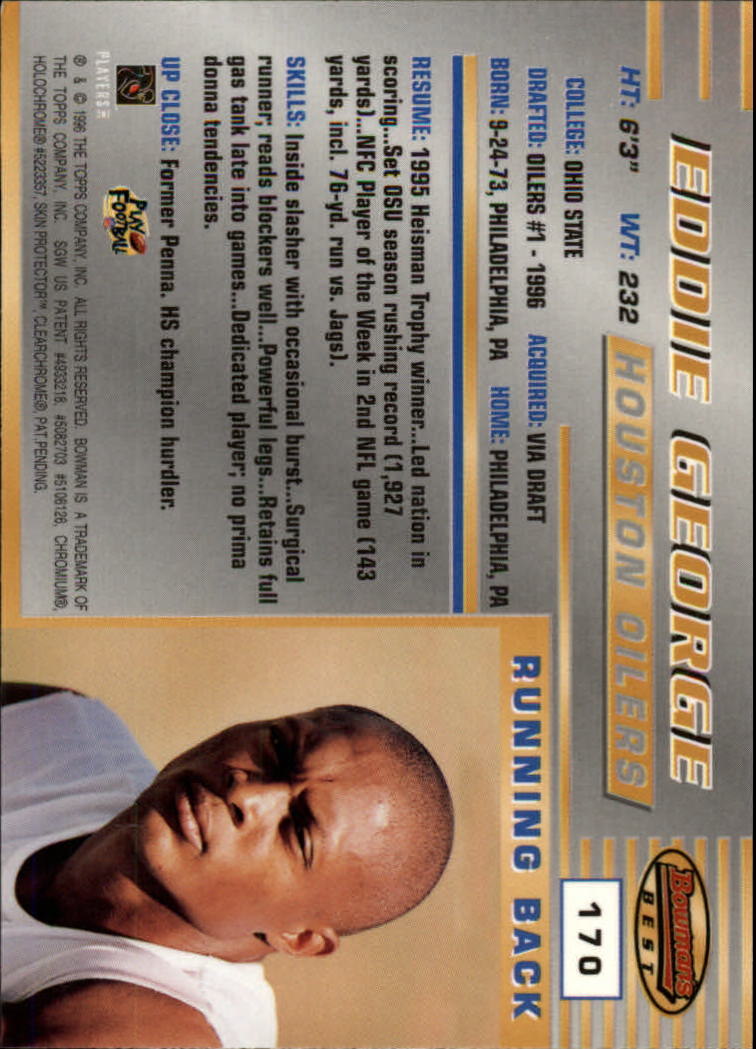 1996 Bowman's Best #170 Eddie George RC back image