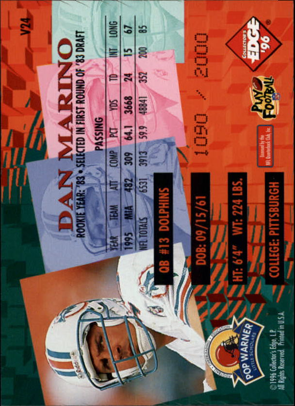 1996 Collector's Edge Advantage Video #V24 Dan Marino back image