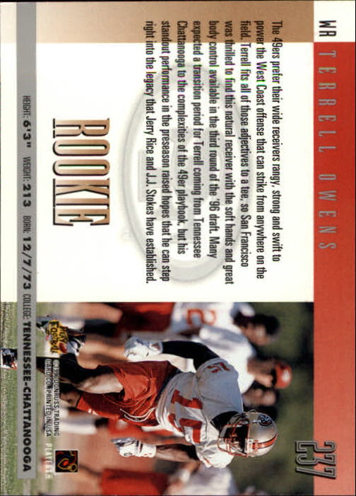 1996 Donruss #237 Terrell Owens RC back image