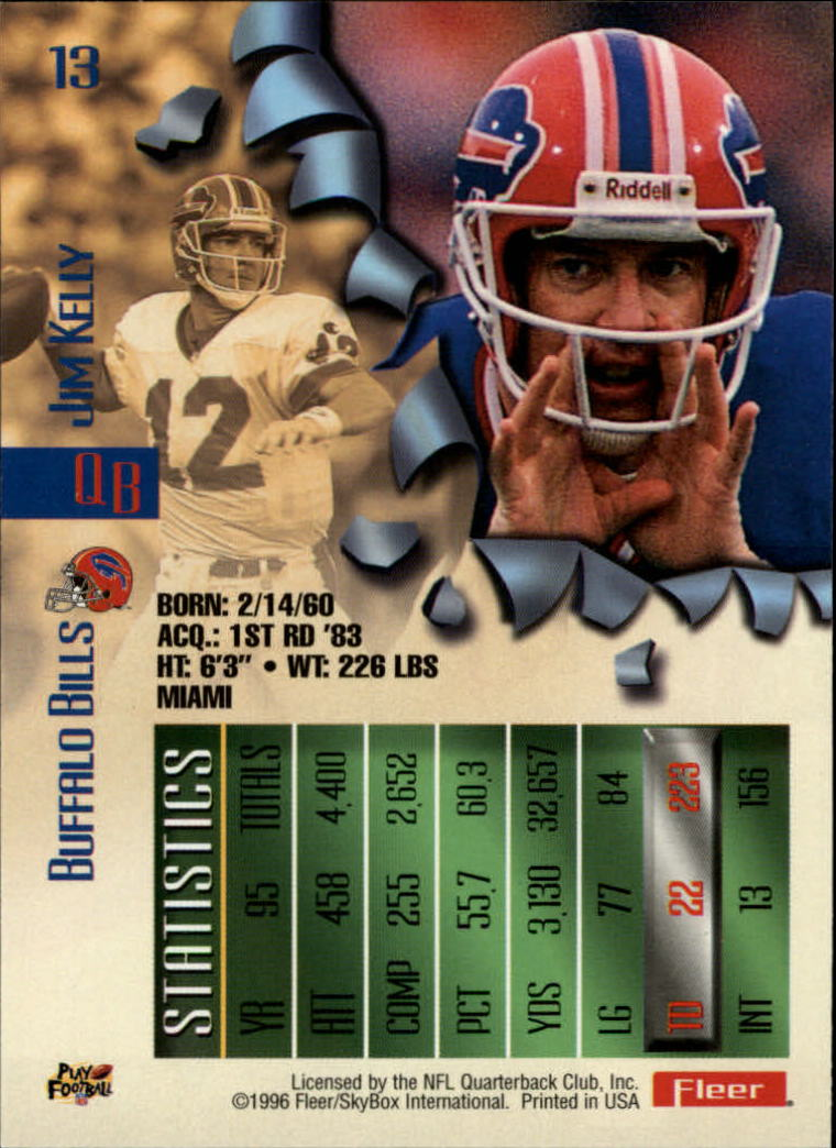 1996 Metal #13 Jim Kelly back image