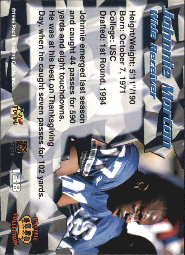 1996 Pacific #138 Johnnie Morton back image