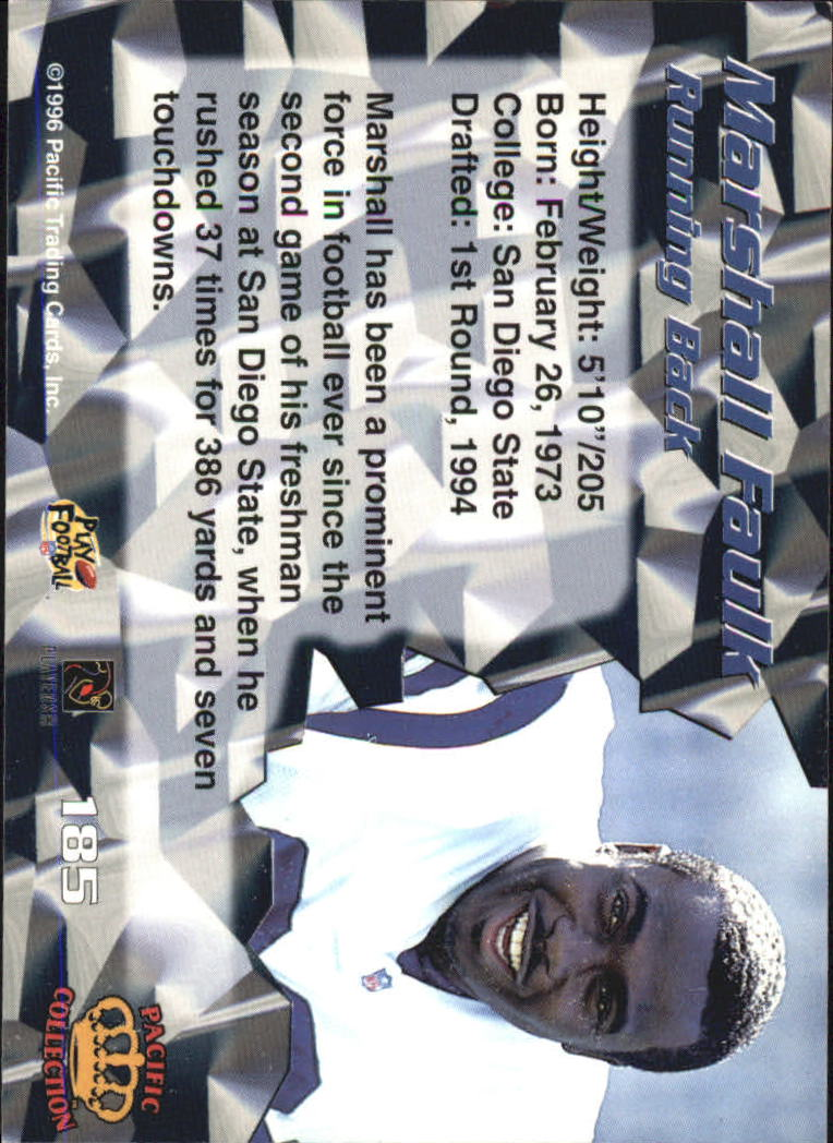 1996 Pacific #185 Marshall Faulk back image