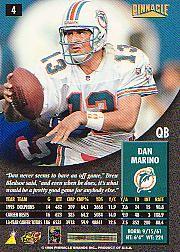 1996 Pinnacle Artist's Proofs #4 Dan Marino back image