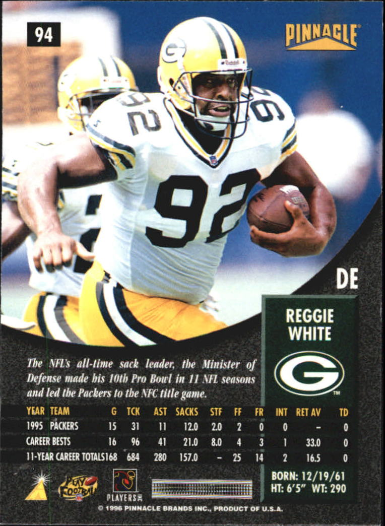 1996 Pinnacle Artist's Proofs #94 Reggie White back image