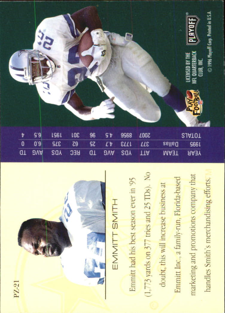 1996 Playoff Trophy Contenders Playoff Zone #21 Emmitt Smith back image