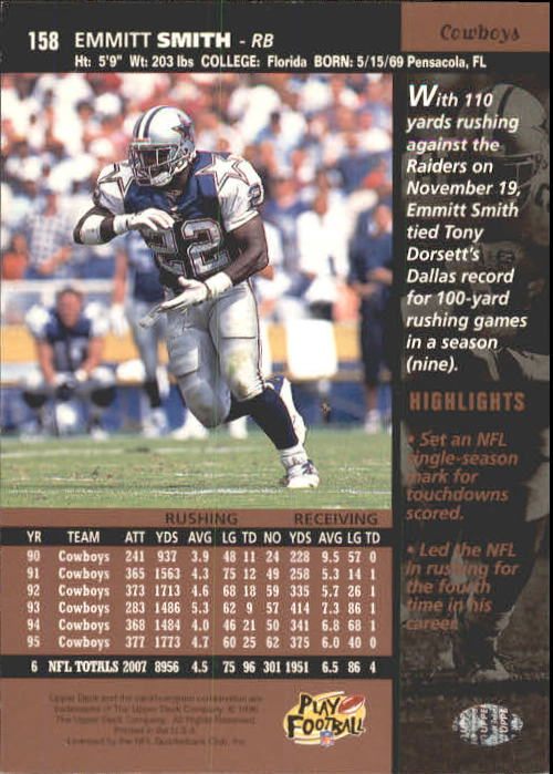 1996 Upper Deck #158 Emmitt Smith back image