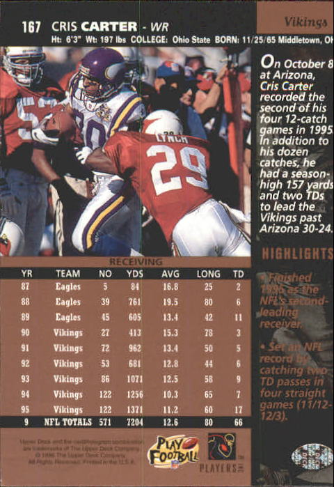 1996 Upper Deck #167 Cris Carter back image