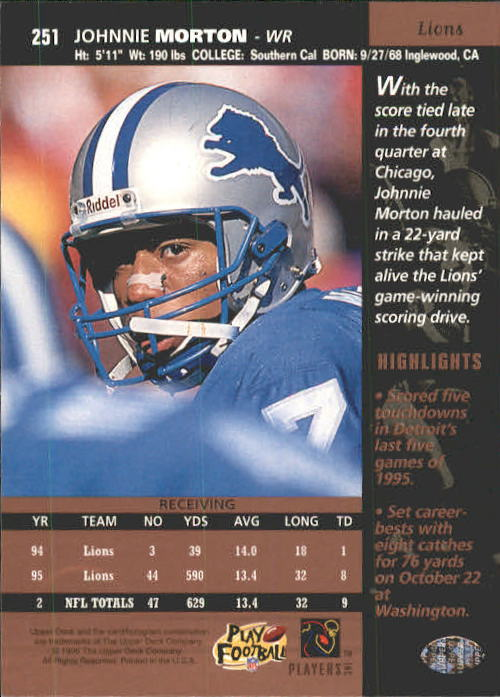 1996 Upper Deck #251 Johnnie Morton back image