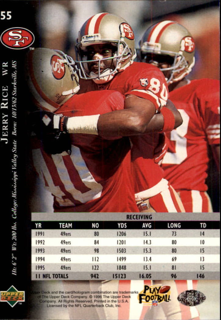 1996 Upper Deck Silver #55 Jerry Rice back image
