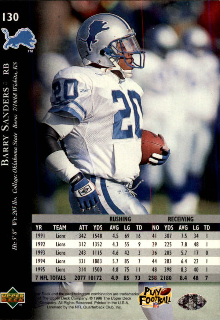 1996 Upper Deck Silver #130 Barry Sanders back image