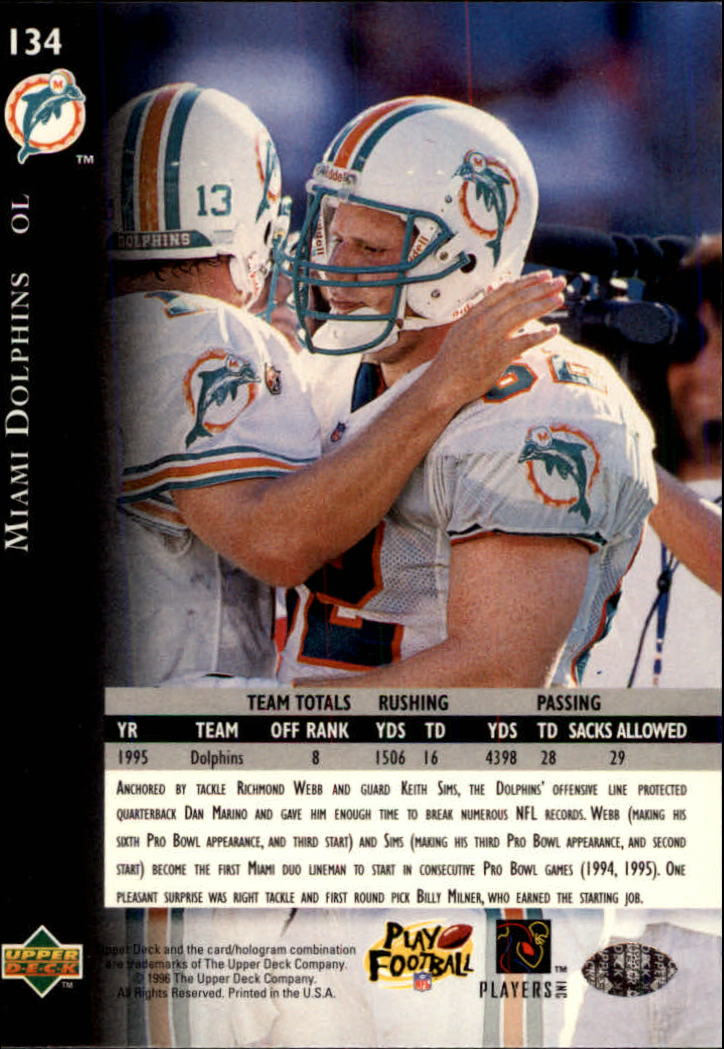 1996 Upper Deck Silver #134 Dolphins Offensive Line back image