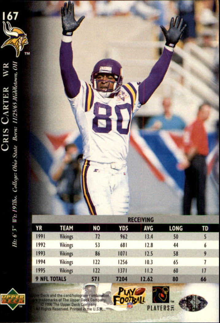 1996 Upper Deck Silver #167 Cris Carter back image