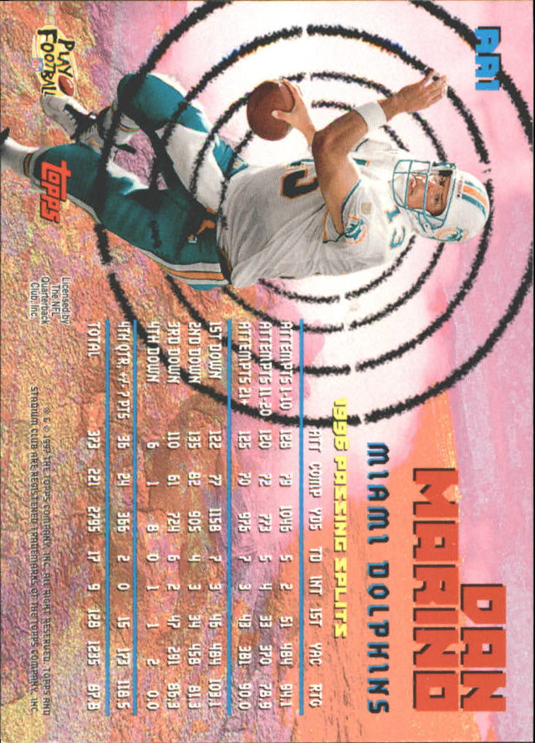 1997 Stadium Club Aerial Assault #AA1 Dan Marino back image