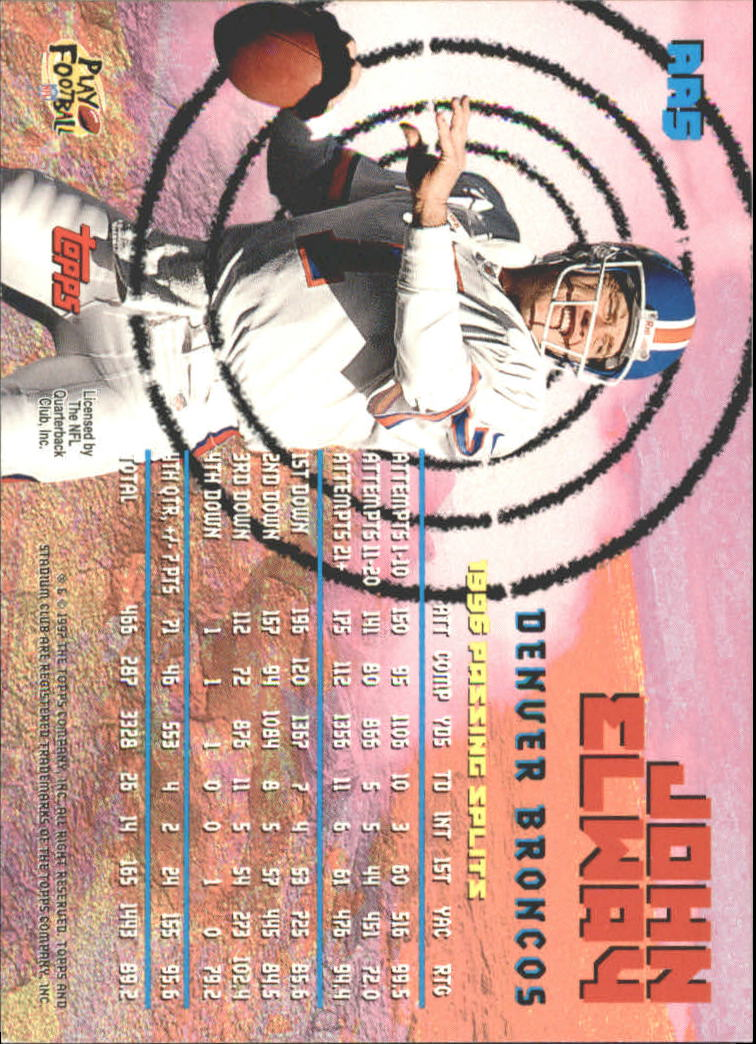 1997 Stadium Club Aerial Assault #AA5 John Elway back image