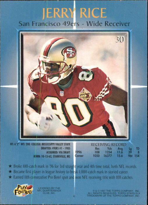 1997 Topps Stars #30 Jerry Rice back image