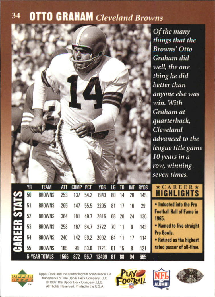 1997 Upper Deck Legends #34 Otto Graham back image
