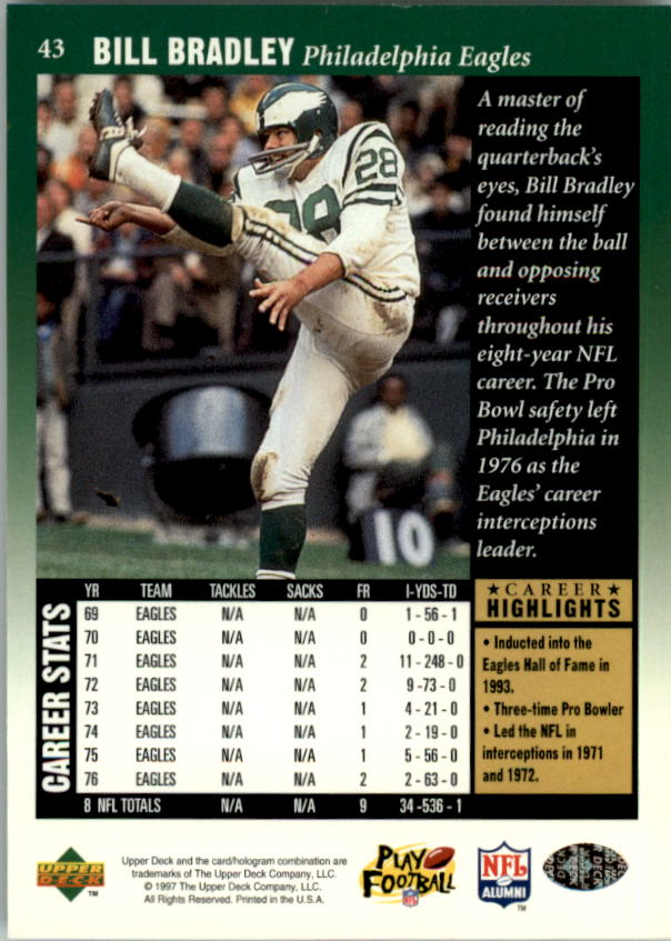 1997 Upper Deck Legends #43 Bill Bradley back image