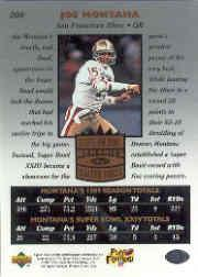 1997 Upper Deck Legends #208 Joe Montana SM back image