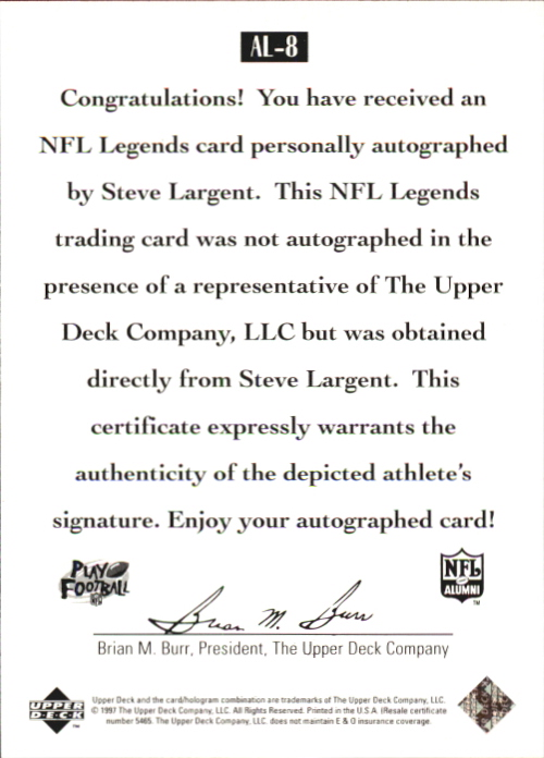 1997 Upper Deck Legends Autographs #AL8 Steve Largent