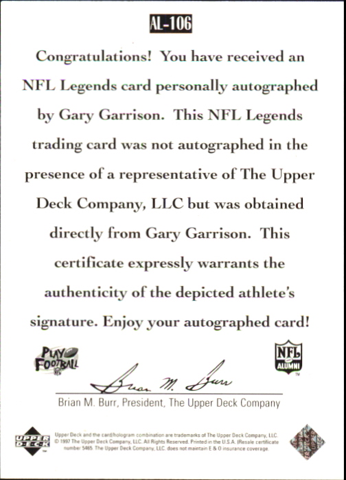1997 Upper Deck Legends Autographs #AL106 Gary Garrison back image
