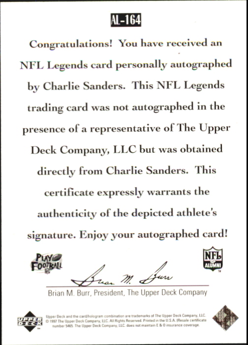 1997 Upper Deck Legends Autographs #AL164 Charlie Sanders back image