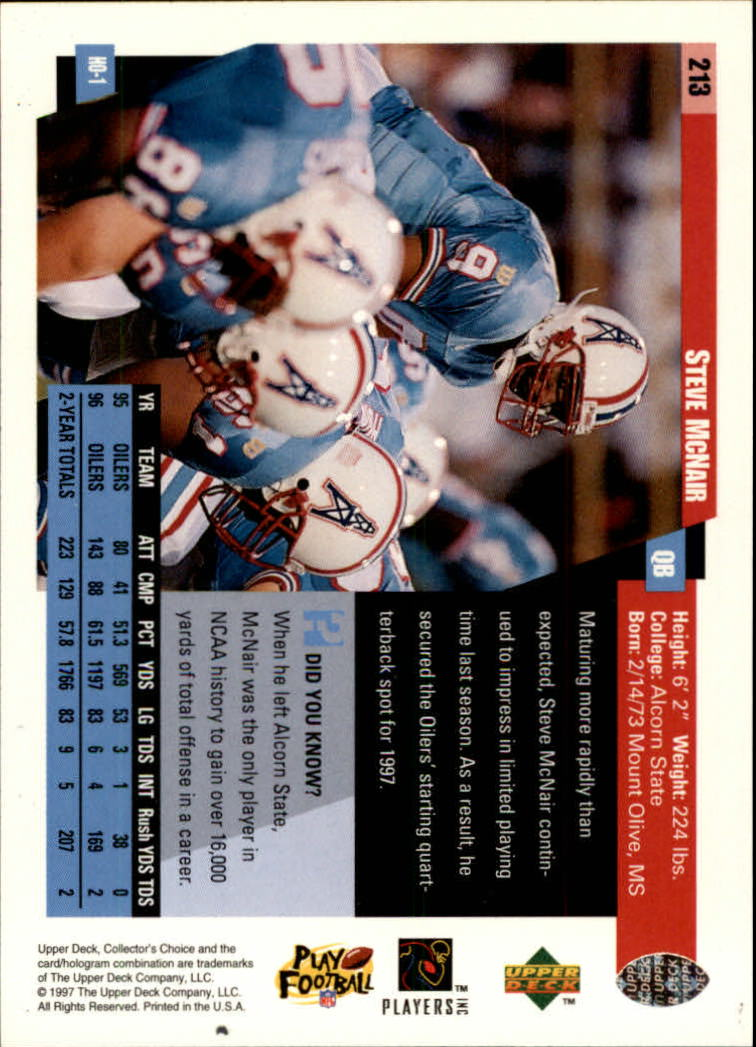1997 Collector's Choice #213 Steve McNair back image