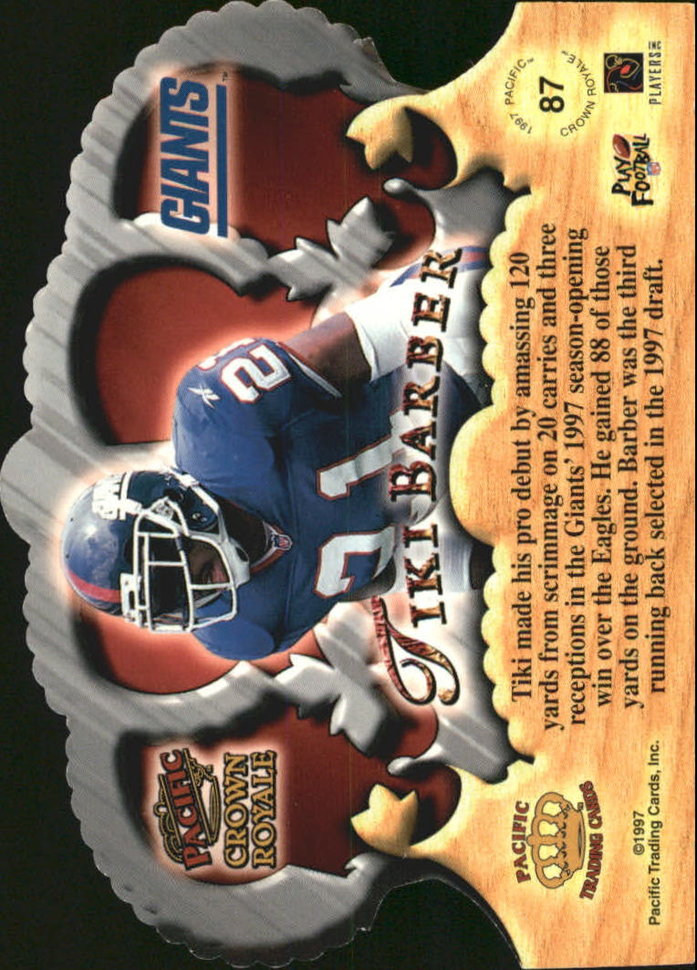 1997 Crown Royale #87 Tiki Barber RC back image