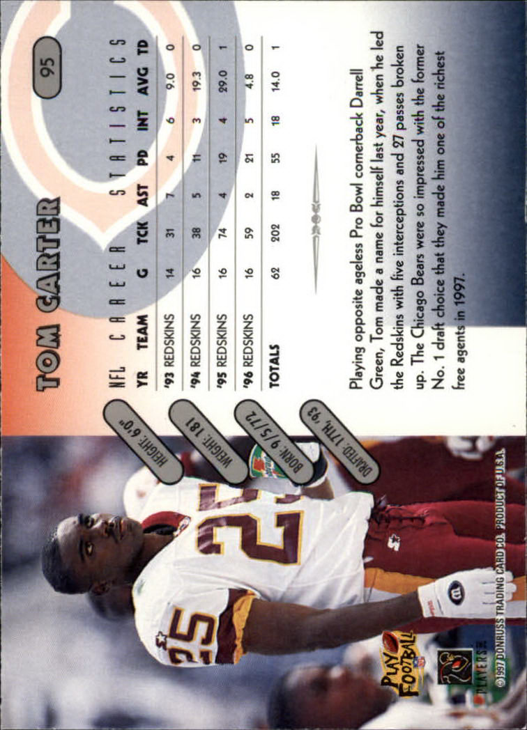 1997 Donruss #95 Tom Carter back image
