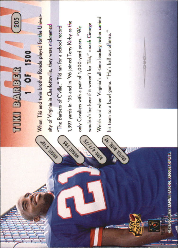 1997 Donruss Press Proofs Silver #205 Tiki Barber