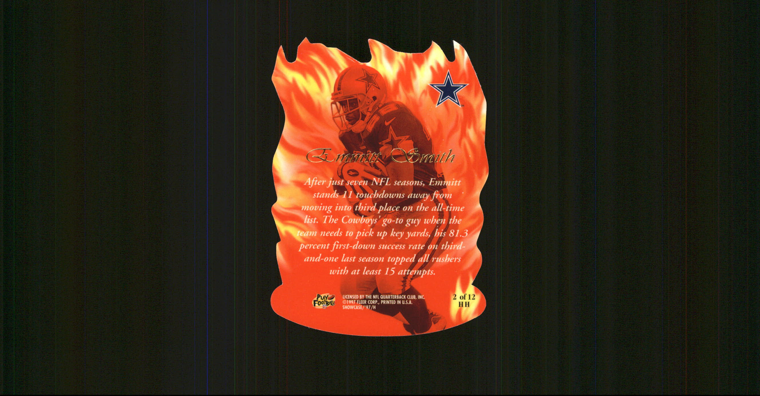 1997 Flair Showcase Hot Hands #HH2 Emmitt Smith back image