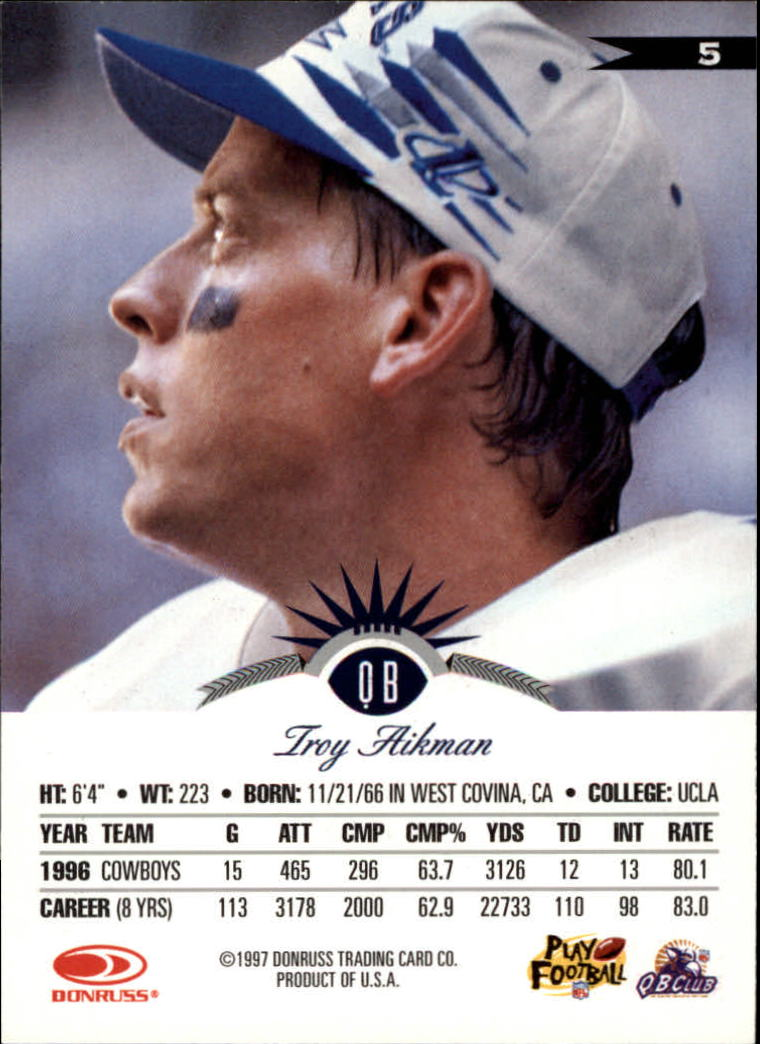 1997 Leaf #5 Troy Aikman back image